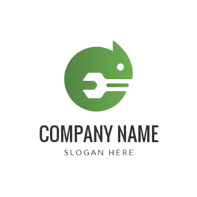 Green Curled Lizard Icon logo design