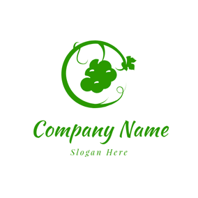 Green Curly Vine and Grape logo design