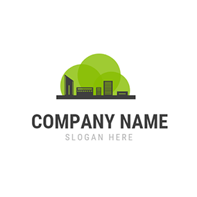 Green Decoration and Black Building logo design