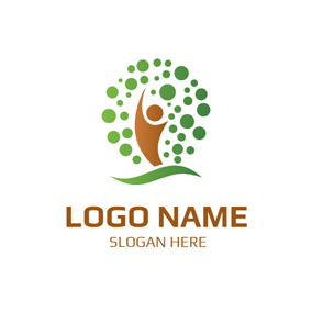 Green Dots and Brown Student logo design