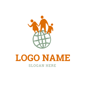Green Earth and Abstract Family logo design