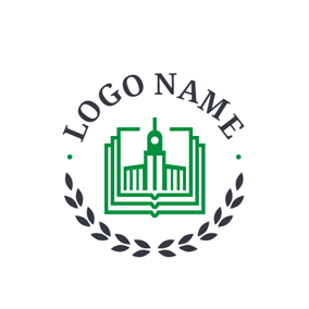 Green Educational Building and Book logo design