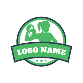 Green Encircle Fitness Woman and Dumbbell logo design
