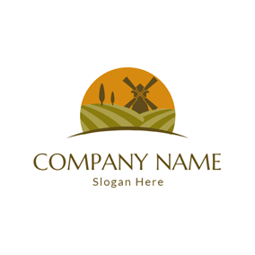 Green Field and Brown Windmill logo design
