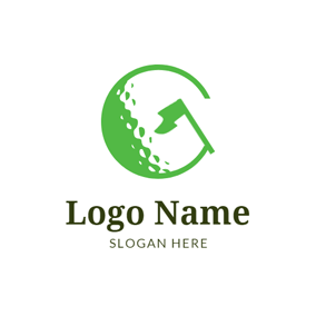 Green Flag and Golf Ball logo design