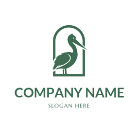 Green Frame and Pelican logo design