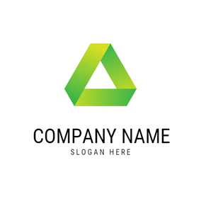 Green Geometrical Triangle logo design