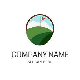 Green Golf Course and Golf Ball logo design