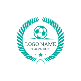 Green Grass and White Soccer logo design