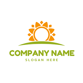 Green Grassland and Yellow Sun logo design
