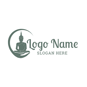 Green Hand and Buddha Icon logo design