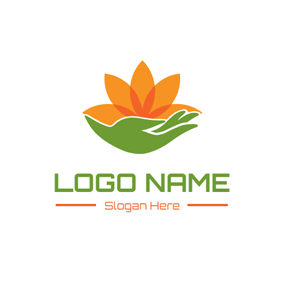 Green Hand and Yellow Lotus logo design