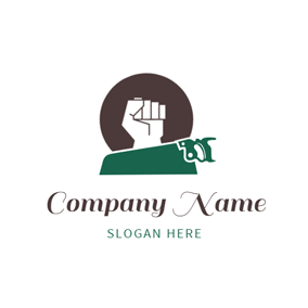 Green Handsaw and White Fist logo design