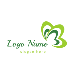 Green Heart and Butterfly logo design
