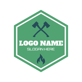 Green Hexagon and Crossed Axe logo design