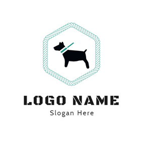 Green Hexagon and Standing Dog logo design