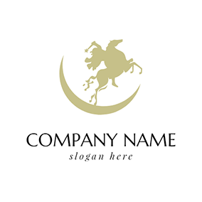 Green Horse and Fairy logo design