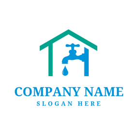 Green House and Blue Water Faucet logo design