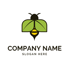 Green Leaf and Bee logo design