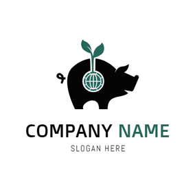 Green Leaf and Black Pig logo design