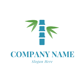 Green Leaf and Blue Spine logo design