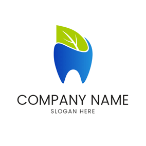 Green Leaf and Blue Tooth logo design