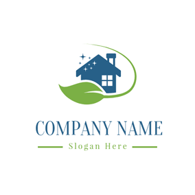 Green Leaf and Cleaning House logo design