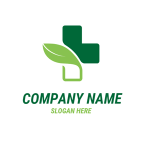 Green Leaf and Cross logo design