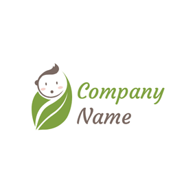 Green Leaf and Cute Baby logo design