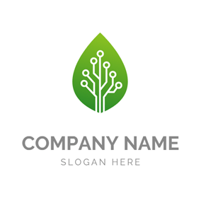 Green Leaf and Data logo design