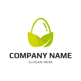 Green Leaf and Egg logo design