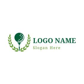 Green Leaf and Golf Ball logo design