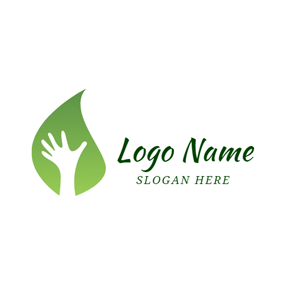 Green Leaf and Hand logo design