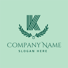 Green Leaf and Letter K logo design