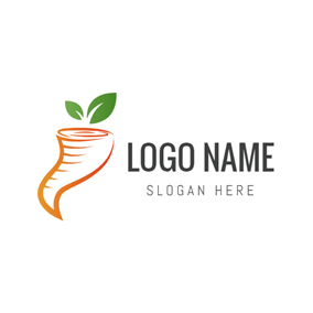Green Leaf and Orange Hurricane logo design