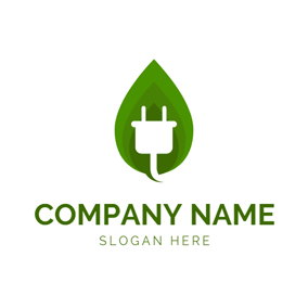 Green Leaf and Plug Wire logo design