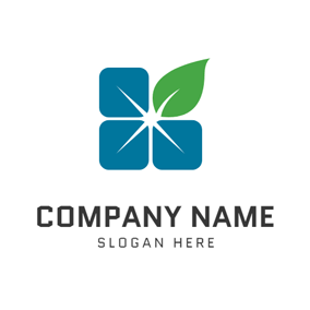 Green Leaf and Solar Panel logo design