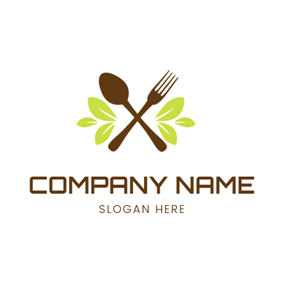 Green Leaf and Tableware logo design