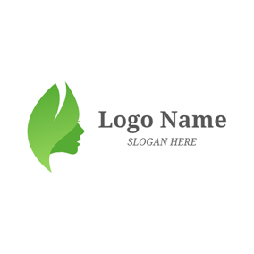Green Leaf and Woman Face logo design