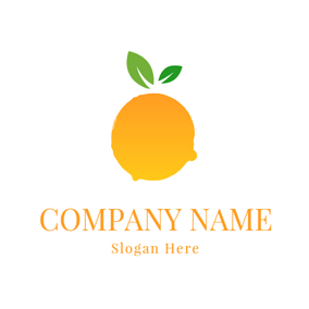 Green Leaf and Yellow Orange Icon logo design