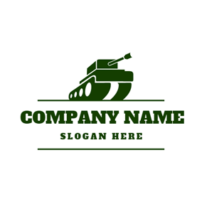 Green Lines and Military Tank Icon logo design
