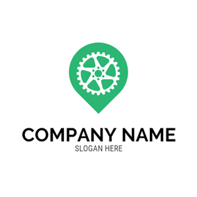 Green Location and White Bike Wheel logo design