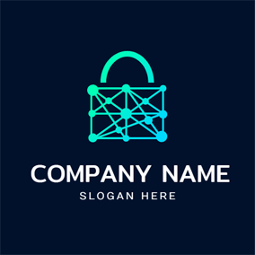 Green Lock Shape and Blockchain logo design