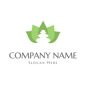 Green Lotus and White Stone logo design