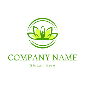 Green Lotus and Yoga Woman logo design