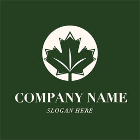 Green Maple Leaf Icon logo design