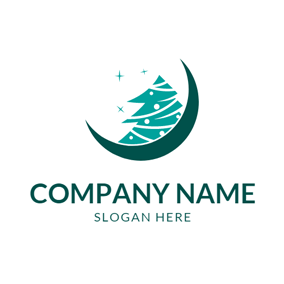 Green Moon and Christmas Tree logo design