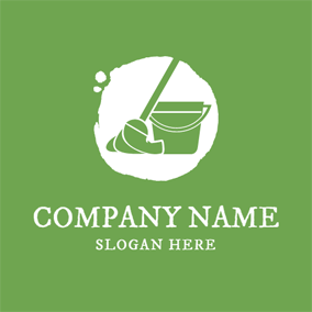 Green Mop and Cleaning logo design