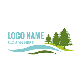 Green Mountain and Tree Icon logo design