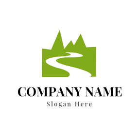 Green Mountain Outline and River logo design